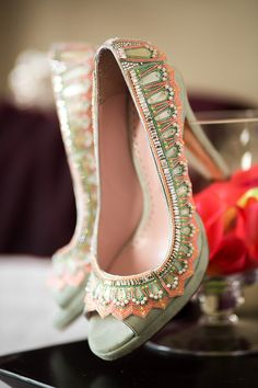 80 Beautiful coral and pale green open toe shoes by Emmy Shoes. Photograph by Naomi Kenton for Love My Dress®.