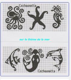 octopus, starfish, seahorse, angelfish, dolphin, mermaid