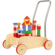 Small Foot 4236 Lauflernwagen Bausteine for sale online Cubes, Brick Block, Construction, Babies R Us, Toddler Learning, Activity Centers, Puzzle Pieces, Baby Gear, Wooden Toys