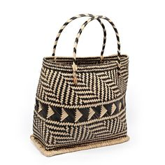 Graphic woven handled basket