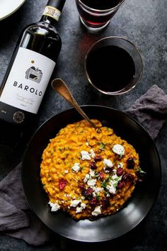 This Pumpkin Risotto with Goat Cheese & Dried Cranberries is a perfect fall comfort food. Rich, creamy & perfect for a vegetarian Thanksgiving. Vegetarian Thanksgiving, Thanksgiving Side Dishes, Thanksgiving Ideas, Wine Recipes, Cooking Recipes, Meal Recipes, Cooking Ideas, Yummy Recipes, Risotto