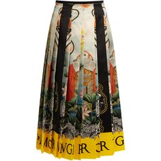 Gucci Elephant and waterlily-print pleated satin skirt ($4,400) ❤ liked on Polyvore featuring skirts, gucci, multi, silk neck ties, knee length pleated skirt, neck-tie, fringe midi skirt and silk neckties