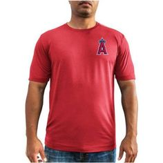 MLB Anaheim Angels Mike Trout Men's Short Sleeve Tee, Red