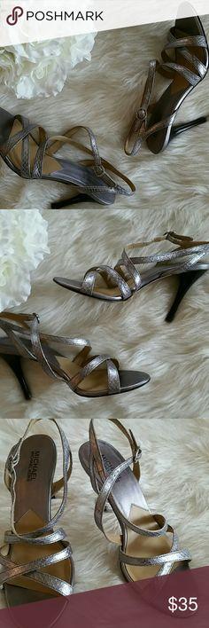 Michael kors studio crisscross pewter heels 9M EUC Michael Kors studio crisscross pewter heels. Size 9M. Very good condition. Will ship with original box. Michael Kors Shoes Heels