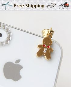 Christmas Gingerbread Man Phone Charm with Swarovski Crystal. iPhone Dust Plug. iPhone Accessories. iPhone Earphone Plug. Free Shipping.