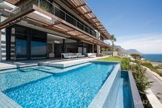 Inspirations Modern And Exotic Resort Pool Design Ideas Amazing Architecture Saota Kloof Project Home Exterior With Modern Pool Design Wooden Pergola And Concrete Patio Beautiful Beach Houses, Most Beautiful Beaches, Beautiful Homes, Beautiful Ocean, Infinity Pools, Clifton Beach, Concrete Patio, Pool Designs, My Dream Home
