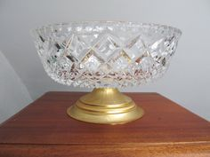 Lead cut crystal bowl on pedestal stand, bonbonniere, lovely cut motif, gold metal stand, heavy center piece, candy dish, Dia 8.1 in/20.5 cm