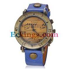 Women's Vintage Music Pattern Round Dial PU Band Quartz Analog Wrist Watch (Assorted Colors) : Online Shopping for Watches, Toys & more
