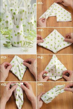 Make your own table decorations for Easter - 70 craft ideas for that special, personal touch - Easter bunny napkins fold table decoration make yourself - Easter Crafts, Holiday Crafts, Easter Ideas, Decorative Napkins, Diy Ostern, Napkin Folding, Bunny Napkin Fold, Origami Tutorial, Diy And Crafts