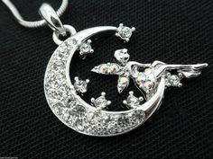 New Crystal Fairy Moon Women's Girls Pendant Necklace #SensualGems #Pendant