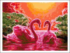 Fractal Flamingo Cross Stitch Printable Needlework Pattern - DIY Crossstitch Chart, Pretty Bird, Relaxing Hobby, Instant Download PDF Design