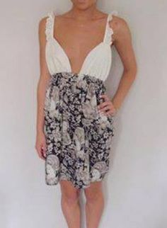 Black Cocktail Dress - White Dress with Plunging Neckline http://www.ustrendy.com/store/product/96464/white-dress-with-plunging-neckline-and-black-floral-bottom