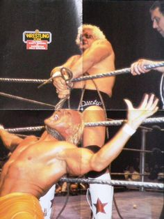 Dusty Rhodes vs Superstar Billy Graham Bull Rope Match from Wrestling Scene Poster magazine #1 1983. The actual year of this match is 1977 or 1978