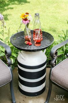 An old milk can gets a bold new look and useful new purpose with paint and a round tray-top. A fun and useful addition to the patio. [media_i…