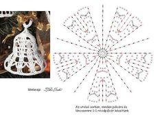 Crochet bell with chart Crochet Christmas Decorations, Christmas Crochet Patterns, Crochet Ornaments, Crochet Decoration, Crochet Snowflakes, Xmas Ornaments, Crochet Diagram, Crochet Motif, Crochet Designs