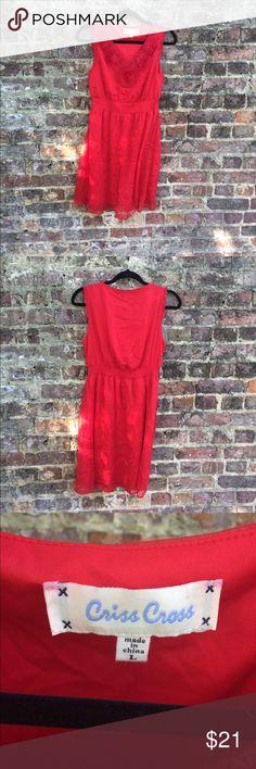 "Criss Cross sleeveless dress Criss Cross red sleeveless dress. Size large, elastic Waist and length from shoulder to hem 34"". Criss Cross Dresses Midi"