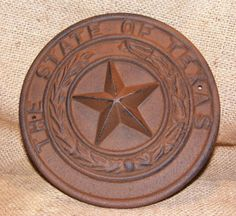 Cast Iron TEXAS STATE SEAL Plaque Wall Sign by BirdiesNestAntiques