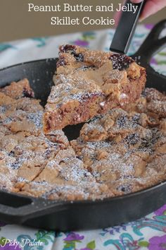 """""""Peanut Butter and Jelly Skillet Cookie""""   @PickyPalate #recipe #dessert #snacktime"""