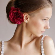 Magenta Rose Hair Clip  Flower Hair Accessories  by Florentes, $29.00