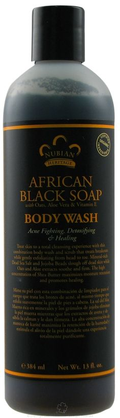 Nubian Heritage African Black Soap Body Wash contains acne fighting, detoxifying and healing properties with oats, aloe vera and Vitamin E. Nubian Heritage African Black Soap Body Wash is made with certified organic ingredients. Nubian Heritage A Organic Body Wash, Organic Skin Care, Aloe Vera Vitamin, Blonde Hair Care, Black Skin Care, Body Acne, African Black Soap, Dark Makeup, Acne Treatment