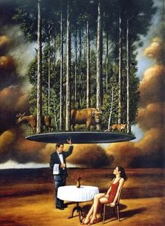 """In front of a painting, as in front of a beautiful woman, one must revel in wonder"" - Rafal Olbinski. Rene Magritte, Surrealism Painting, Pop Surrealism, Magic Realism, Wassily Kandinsky, Surreal Art, Belle Photo, Illustration, Fantasy Art"