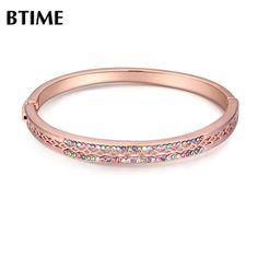 2016 New Design Rose Gold Color Bracelets & Bangles Crystal Bangle Vintage Women Pulseira One Direction Crystals From Swarovski #Affiliate