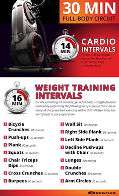 30 Minute Full Body Circuit workout routine with cardio intervals and strength based weight training intervals Bowflex Max Trainer M5, Bowflex Workout, Workout List, Workout Circuit, Fat Workout, Boxing Workout, Workout Guide, Workout Ideas, Routine