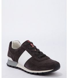 Prada dark grey suede and white saffiano leather strap lace up sneakers