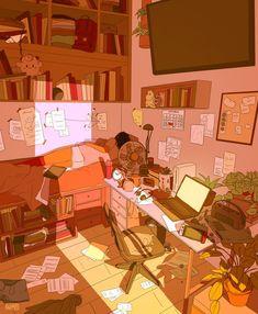 Interior Illustration - Bright Idea - Home, Room, Furniture and Garden Design Ideas Cartoon Kunst, Cartoon Art, Aesthetic Anime, Aesthetic Art, Aesthetic Bedroom, Bedroom Drawing, Japon Illustration, Art Mignon, 8bit Art