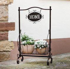 Stojan HOME s poličkou kovový drôtený košík na kvety