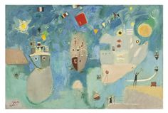 Boats on a Holiday in Haifa Port, Nachum Gutman, 1959. Check out our new board: Israeli Landscapes in Art.