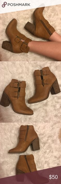 "Steve Madden Brown Booties Only wore once! Only reason the bottoms are worn bc they were a little slippery when I got them so I scuffed them up on the concrete. Other than that basically new! Heel is 3.5"". Style: Trevur Steve Madden Shoes Ankle Boots & Booties"