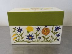 Vintage Retro Flowers METAL RECIPES FILE BOX for index cards Syndicate MFG. Co.  #SyndicateMfg #Floral