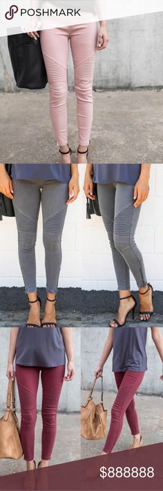 🆕 Mauve Ankle Zipper Moto Jeggings New for fall!!! Mauve moto jeggings with ankle zippers. Super stretchy and comfy!! Zipper ankle detail. Available in S/M: sizes 0-6 and L/XL: 8-14 Brand new!! Available in mauve only, other colors posted only to show other angels/details! Pants