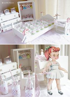 There was also wood furniture from the doll room with clothes on hangers in this paper doll themed party