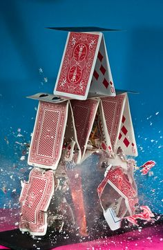 Alan Sailer, Explosions series, art, photography, toys, cards, playing cards, house of cards