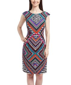 Another great find on #zulily! Red & White Geometric Sheath Dress #zulilyfinds