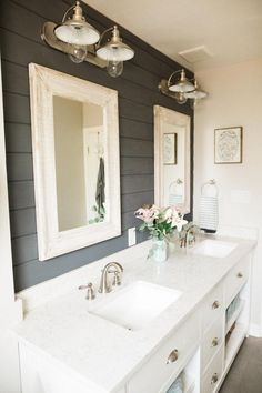 55 Outstanding DIY Bathroom Makeover Ideas On A Budget is part of Shiplap bathroom - Most people prefer DIY style for their bathroom renovation For readers who do not know what is DIY, it means […] Bad Inspiration, Bathroom Inspiration, Mirror Inspiration, Interior Design Minimalist, Interior Modern, Interior Ideas, Modern Luxury, Interior Design Farmhouse, Interior Colors