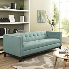 Modway Serve Upholstered Tufted Sofa, Multiple Colors, Size: 28 inch x inch x inch, Blue Furniture Styles, Furniture Deals, Modern Furniture, Home Furniture, Antique Furniture, Tufted Sofa, Sofa Upholstery, Chesterfield Sofa, Mid Century Modern Sofa