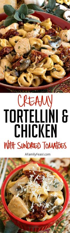 Creamy Tortellini and Chicken with Sun-Dried Tomatoes - A quick and easy meal made with pantry ingredients.