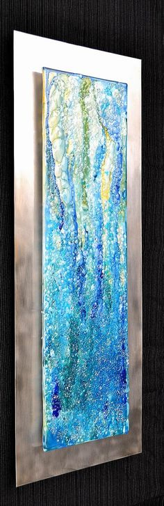 Waterfall Modern Fused Glass Wall Hanging Art on by Krenzin11