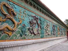 Nine Dragon Wall, Forbidden City, Beijing China. The mag the trap, takes place here, where they find Xiao. Beijing China, Chinese Culture, Chinese Art, China Travel, China Trip, China Architecture, Asia, Visit China, Summer Palace