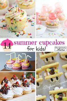 14 Amazing Summer Cupcakes for Kids -- the perfect party cupcakes for your kid's summer party!