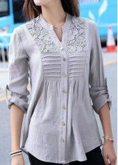 Curved Lace Panel Button Up Grey Shirt