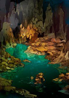 """Underwater City"" by 出水ぽすか Demizu Posuka* Fantasy Landscape, Landscape Art, Fantasy World, Fantasy Art, Illustration Art, Illustrations, Character Illustration, Animation Background, Environment Design"
