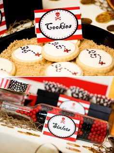 Creative Pirate Adventure Birthday Party ~ love the pirate map cookies