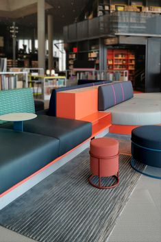 The four rugs on the third floor are designed especially for custom made sitting areas, designed for youth. The bold colors and shapes inspire to socialize, share and interact. The rugs have special shapes to suit the furniture. Three Floor, Custom Rugs, Bold Colors, Bespoke, Third, Youth, Suit, Inspire, Shapes