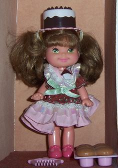 Chocolottie Doll 1989 - Mattel's Merry Muffin-Land. I still have her, and yes, she DOES smell like chocolate!  I also own a blonde doll named Banancy.
