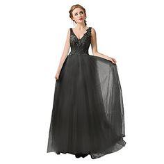 Formal Evening Dress A-line V-neck Floor-length Tulle Dress – GBP £ 131.39