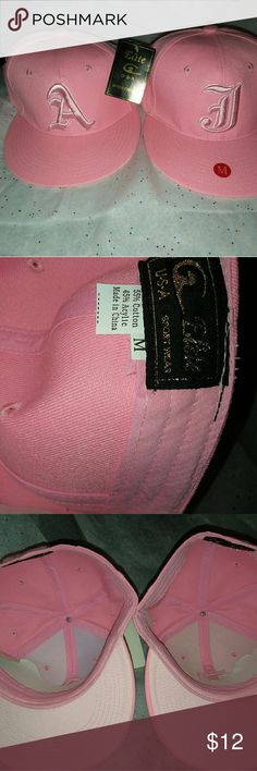 Mens hat Brand new pink mens monogrammed hats ( A  &  J, I only have those 2 ) this hat is great for ladies also. I purchased for myself but never wore them. Bundle with other items, I'll give you a great deal!  Both hats for $10 Elite USA Sportswear Accessories Hats